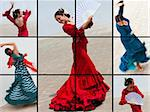 Montage of a traditional Spanish woman Flamenco dancer performing Stock Photo - Royalty-Free, Artist: darrenbaker                   , Code: 400-06332967