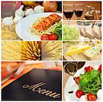 Macro photographs of a fresh food montage, menu salmon cheese wine spaghetti sushi bread Stock Photo - Royalty-Free, Artist: darrenbaker                   , Code: 400-06332968