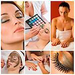 Montage of beautiful women relaxing at a health and beauty spa having their makeup and nails done Stock Photo - Royalty-Free, Artist: darrenbaker                   , Code: 400-06332969