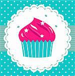 Cute pink cupcake for your party. Vector cartoon Stock Photo - Royalty-Free, Artist: lordalea                      , Code: 400-06333609