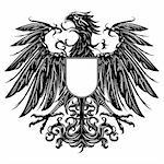 Heraldic style eagle isolated on white Stock Photo - Royalty-Free, Artist: moenez                        , Code: 400-06334186
