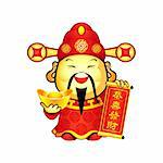 Cai Shen, the Chinese god of Prosperity, a popular New Year symbol Stock Photo - Royalty-Free, Artist: sahua                         , Code: 400-06334220