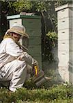Beekeeper with Smoker Stock Photo - Premium Rights-Managed, Artist: Burazin, Code: 700-06334455