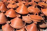 Tajine Pottery for Sale in the Kasbah, Chefchaouen, Chefchaouen Province, Tangier-Tetouan Region, Morocco