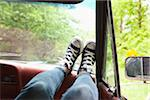 Woman's Feet on Dashboard of Car Stock Photo - Premium Rights-Managed, Artist: Ty Milford, Code: 700-06334619