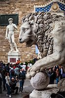 statue of david - Statue of David and Lion Statue, Piazza della Signoria, Florence, Italy Stock Photo - Premium Rights-Managednull, Code: 700-06334791