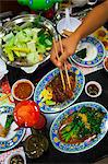 High angle view of various Thai food on table Stock Photo - Premium Royalty-Free, Artist: R. Ian Lloyd, Code: 6102-06337083