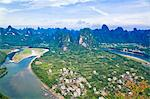 Li River (Lijiang) and pinnacles viewed from Xinping village, Guilin, Guangxi, China Stock Photo - Premium Rights-Managed, Artist: Oriental Touch, Code: 855-06338628