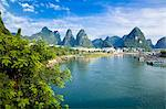 Li River (Lijiang) and pinnacles, Yangshuo, Guilin, China Stock Photo - Premium Rights-Managed, Artist: Oriental Touch, Code: 855-06338641