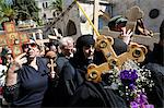 Orthodox Good Friday processions on the Way of the Cross. Old City, Jerusalem, Israel, Middle East Stock Photo - Premium Rights-Managed, Artist: Robert Harding Images, Code: 841-06341834