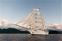 ships at sea - Star Clipper sailing cruise ship, Dominica, West Indies, Caribbean, Central America Stock Photo - Premium Rights-Managednull, Code: 841-06342326