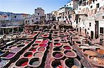 Chouwara traditional leather tannery in Old Fez, vats for tanning and dyeing leather hides and skins, Fez, Morocco, North Africa, Africa Stock Photo - Premium Rights-Managed, Artist: Robert Harding Images, Code: 841-06343118