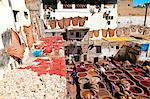 Chouwara traditional leather tannery in Old Fez, vats for tanning and dyeing leather hides and skins, Fez, Morocco, North Africa, Africa Stock Photo - Premium Rights-Managed, Artist: Robert Harding Images, Code: 841-06343121