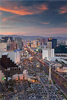 Elevated view of the hotels and casinos along The Strip at dusk, Las Vegas, Nevada, United States of America, North America Stock Photo - Premium Rights-Managednull, Code: 841-06343174