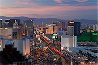 Elevated view of the hotels and casinos along The Strip at dusk, Las Vegas, Nevada, United States of America, North America Stock Photo - Premium Rights-Managednull, Code: 841-06343175