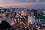 Elevated view of the hotels and casinos along The Strip at dusk, Las Vegas, Nevada, United States of America, North America Stock Photo - Premium Rights-Managed, Artist: Robert Harding Images, Code: 841-06343175