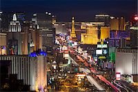 Elevated view of the hotels and casinos along The Strip at dusk, Las Vegas, Nevada, United States of America, North America Stock Photo - Premium Rights-Managednull, Code: 841-06343195
