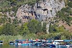Lycian tombs of Dalyan with fishing and tourists boats below, Dalyan, Anatolia, Turkey, Asia Minor, Eurasia Stock Photo - Premium Rights-Managed, Artist: Robert Harding Images, Code: 841-06343289