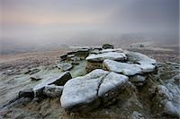 fog (weather) - Frost covered granite outcrop on Hookney Tor, with thick fog descended over the moorland landscape, Dartmoor National Park, Devon, England, United Kingdom, Europe Stock Photo - Premium Rights-Managednull, Code: 841-06343448