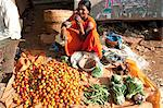 Woman at roadside vegetable stall selling tomatoes, beans and cauliflowers, rural Orissa, India, Asia Stock Photo - Premium Rights-Managed, Artist: Robert Harding Images, Code: 841-06343919