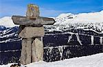 Inukshuk, symbol of friendship and welcome and the 2010 Winter Olympic Games, Whistler Mountain, Whistler Blackcomb Ski Resort, Whistler, British Columbia, Canada, North America Stock Photo - Premium Rights-Managed, Artist: Robert Harding Images, Code: 841-06344135