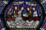 Medieval stained glass depicting the Miraculous Draught of Fishes, Third Typological Window, North Quire Isle, Canterbury Cathedral, UNESCO World Heritage Site, Canterbury, Kent, England, United Kingdom, Europe Stock Photo - Premium Rights-Managed, Artist: Robert Harding Images, Code: 841-06344324