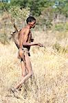 Jul'hoan !Kung Bushman in loin-cloth on a hunter-gatherer expedition, Bushmanland, Kalahari Desert, Namibia, Africa Stock Photo - Premium Rights-Managed, Artist: Robert Harding Images, Code: 841-06344732