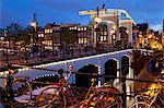 Magere Brug (Skinny Bridge) at dusk, Amsterdam, Holland, Europe Stock Photo - Premium Rights-Managed, Artist: Robert Harding Images, Code: 841-06344831