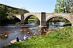 People eating ice cream at Barden Bridge over the River Wharfe, Wharfedale, Yorkshire Dales, Yorkshire, England, United Kingdom, Europe Stock Photo - Premium Rights-Managed, Artist: Robert Harding Images, Code: 841-06345041