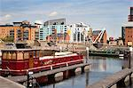 Barge at Clarence Dock, Leeds, West Yorkshire, Yorkshire, England, United Kingdom, Europe Stock Photo - Premium Rights-Managed, Artist: Robert Harding Images, Code: 841-06345125