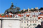 Statue of King John 1st and Castelo de Sao Jorge, Praca da Figueira, Baixa, Lisbon, Portugal, Europe Stock Photo - Premium Rights-Managed, Artist: Robert Harding Images, Code: 841-06345287