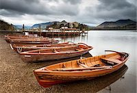 Keswick launch boats, Derwent Water, Lake District National Park, Cumbria, England Stock Photo - Premium Rights-Managednull, Code: 841-06345355