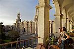 Woman taking photograph of Arequipa Cathedral (la catedral) Plaza de Armas, Arequipa, peru, peruvian, south america, south american, latin america, latin american South America Stock Photo - Premium Rights-Managed, Artist: Robert Harding Images, Code: 841-06345443