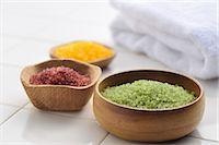Bath Salts and bath towel in a bathroom Stock Photo - Premium Royalty-Freenull, Code: 618-06346409