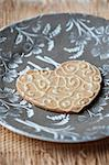 Close up of decorated cookie on plate Stock Photo - Premium Royalty-Free, Artist: ableimages, Code: 649-06352870