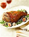 Roasted Leg of Lamb with Fig and Mint Garnish Stock Photo - Premium Royalty-Free, Artist: Michael Mahovlich, Code: 600-06355386