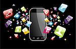Iphone application icons splash out of phone on black background. Vector file layered for easy manipulation and customisation. Stock Photo - Royalty-Free, Artist: cienpiesnf                    , Code: 400-06355659