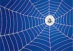 Spider in the middle of white net on blue background Stock Photo - Royalty-Free, Artist: nikdoorg                      , Code: 400-06355738