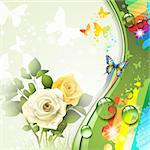 Background with roses and butterflies Stock Photo - Royalty-Free, Artist: Merlinul                      , Code: 400-06355868