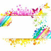 Colorful background with butterfly Stock Photo - Royalty-Freenull, Code: 400-06355875