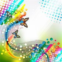 Colorful abstract background with butterflies Stock Photo - Royalty-Freenull, Code: 400-06355883