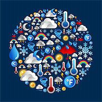 Weather icon set in circle shape over blue background. Vector file layered for easy manipulation and custom coloring. Stock Photo - Royalty-Freenull, Code: 400-06355992