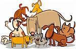 Cartoon Illustration of Funny Dogs or Puppies Group