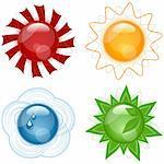 Vector Modern Glassy Weather Symbols Icons Set