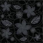 Seamless black and silver floral wallpaper. This image is a vector illustration. Stock Photo - Royalty-Free, Artist: lina_s                        , Code: 400-06356654