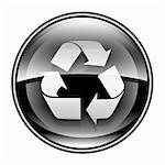 Recycling symbol icon black, isolated on white background. Stock Photo - Royalty-Free, Artist: zeffss                        , Code: 400-06358060