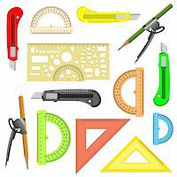 set of school instruments. Protractor, compass, protractor and a knife. Vector illustration. Stock Photo - Royalty-Freenull, Code: 400-06358646