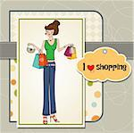 young lady shopping Stock Photo - Royalty-Free, Artist: balasoiu                      , Code: 400-06358737