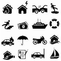 flooded homes - Insurance icon set in black Stock Photo - Royalty-Freenull, Code: 400-06358819