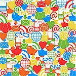 Social network symbols as background Stock Photo - Royalty-Free, Artist: soleilc                       , Code: 400-06358821